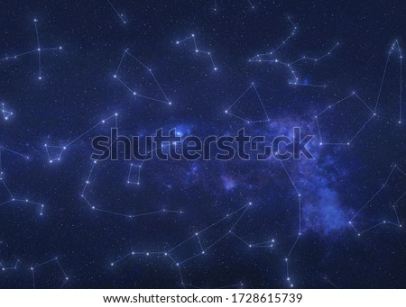 Constellations in outer space. Constellation stars on the night sky with lines. Elements of this image were furnished by NASA