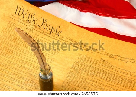 Constitution, flag of USA, and Quill Pen in inkwell