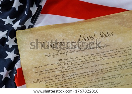 Constitution of the United States of America first of the National Archives in the Constitutional Convention in 1787. Stockfoto ©