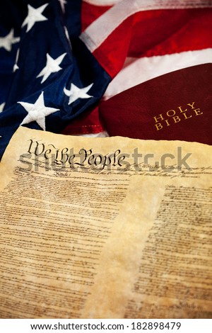 Constitution: USA Flag and Constitution with Bible #182898479