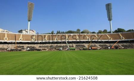Construction activity on a sport stadium