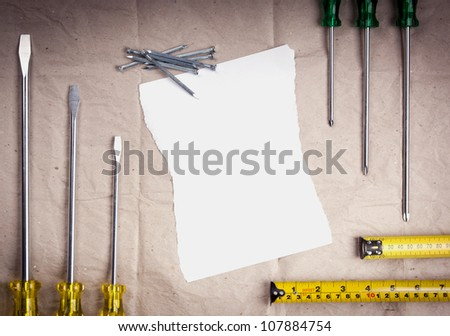 Construction and building equipment background of various tools with copy space