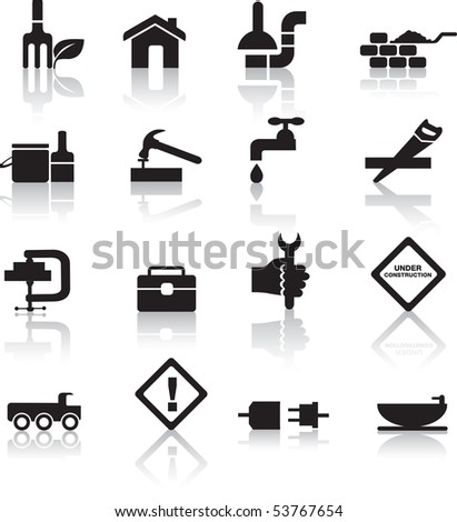construction and diy black silhouette icon button set