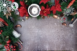 Construction and plumber tools on Christmas background. Plumbing supply over holiday decoration with space for text.