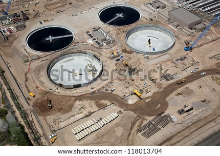 Construction at a waste water treatment facility from above