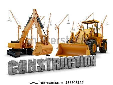 Construction background with bulldozer and loader - stock photo