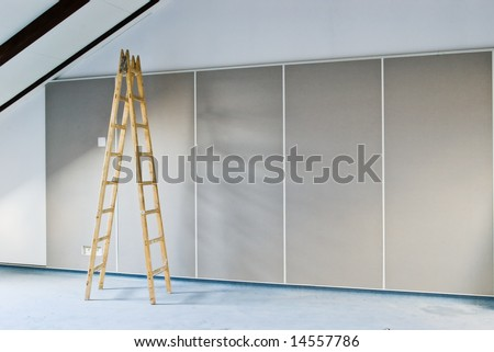 construction background with ladder indoor