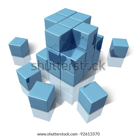 Construction blocks as an abstract 3d structure of basic blue cubes as a geometric organized pattern of building together an organization that works as a team.