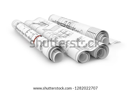 construction blueprints in rolls isolated 3d render