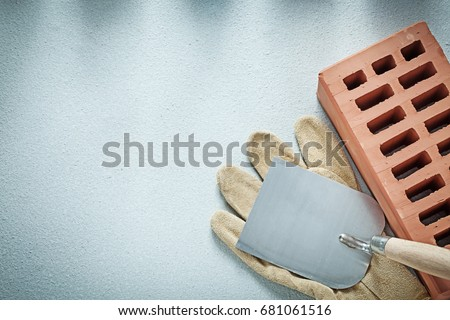 Construction brick leather protective gloves plastering trowel o
