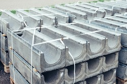 Construction cement blocks for road construction gutter and sewer on a city street