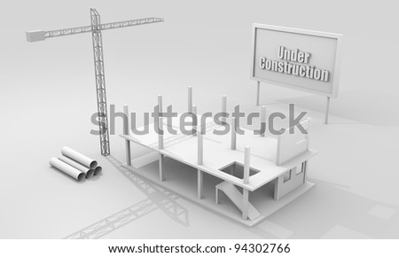 Construction concept image with a crane and building under construction