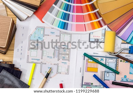 Construction concept: plan , color samples , roller #1199229688