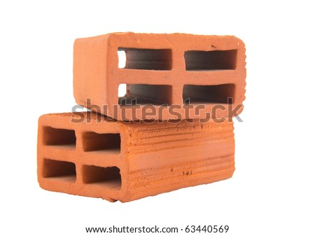 construction concept with red clay bricks