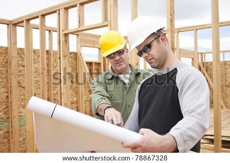 Construction Contractors building a new home