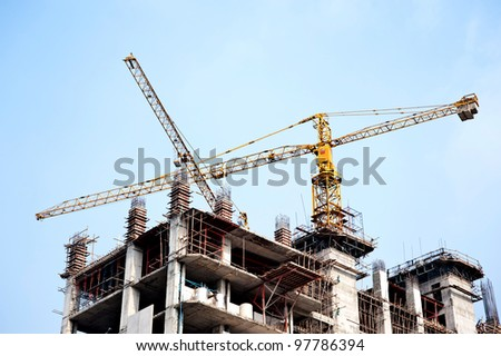 construction crane and nice blue sky