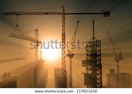 Construction crane and skyscraper in the sunlight.
