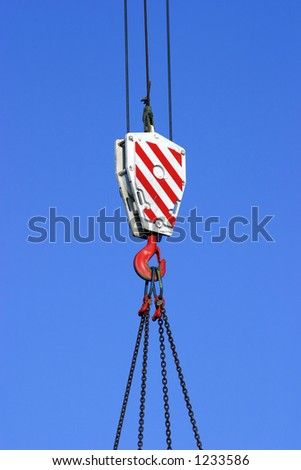 Construction crane hook and pulley