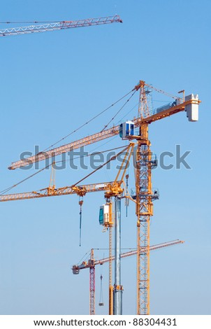 Construction cranes on the building site