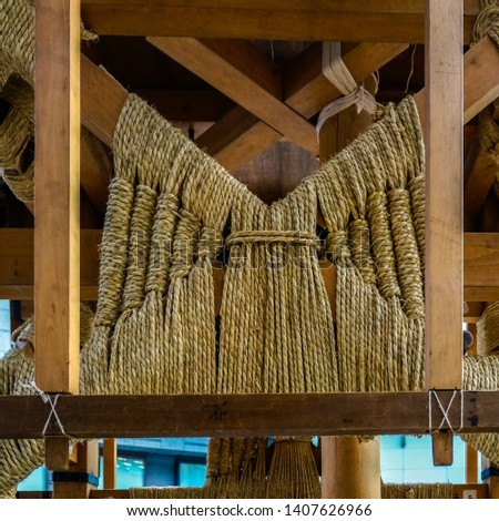Construction details of Hoko float for the annual Gion Matsuri festival in Kyoto, Japan. Giant floats are built without nails but are holding on the elaborately tied ropes instead #1407626966