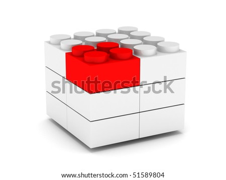 Construction. Different concept. White and red blocks isolated on white background. High quality 3d render.