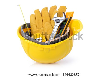 Construction DIY tools ready for work isolated on white background