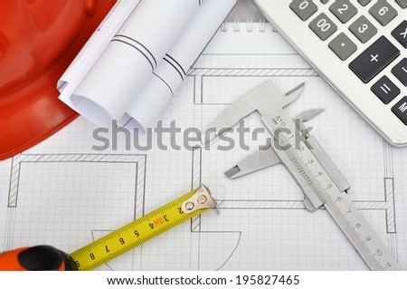 Construction drawings caliper tape line calculator and helmet Desk Engineer