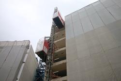 construction elevator on building