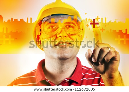 Construction engineer using modern technology for project development.