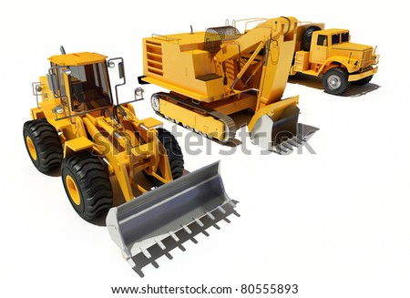 Construction equipment on a white background.