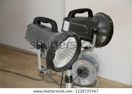 Construction floodlights to illuminate the work space #1228725967