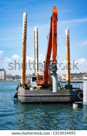 Construction for Marine works this picture for Construction, Construction Steel Pipe Pile used Piling Barge for driven pile.