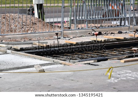 Construction for the Tempe Trolley line in Tempe Arizona