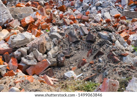 Construction garbage. Building rubble from bricks