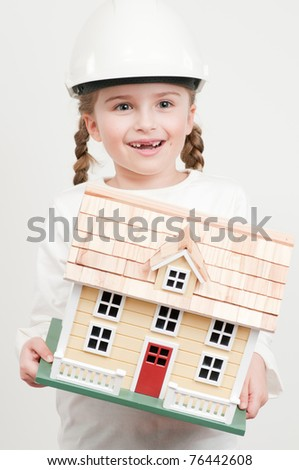Construction - girl with house model (self made house)