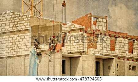 construction. group of builders ...