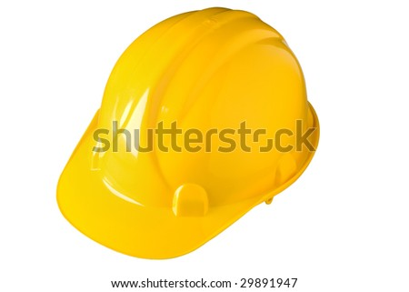 Construction hard hat on white