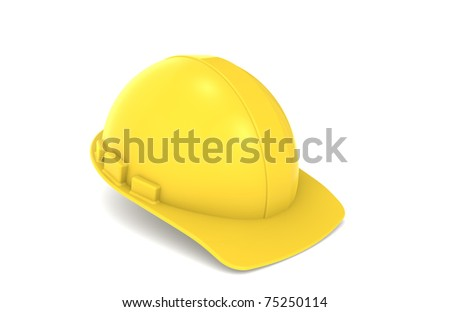Construction Hard Hat. Yellow Construction Hard Hat. Isolated on white.