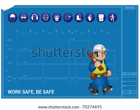 Construction health and Safety against blueprint drawing