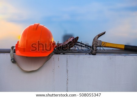 Construction helmet and Construction Tools on Construction site #508055347