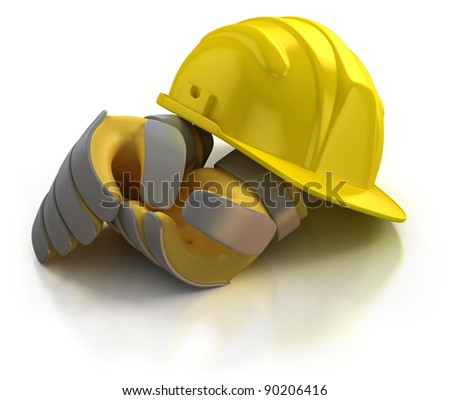 construction helmet and gloves isolated on white background