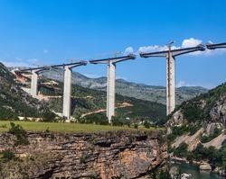 Construction Highway Autobahn Bar - Bolyar - Belgrade from Montenegro to Serbia. Montenegro