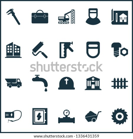Construction icons set with school, pipe with sensor, construction stapler and other rig vehicle elements. Isolated  illustration construction icons.