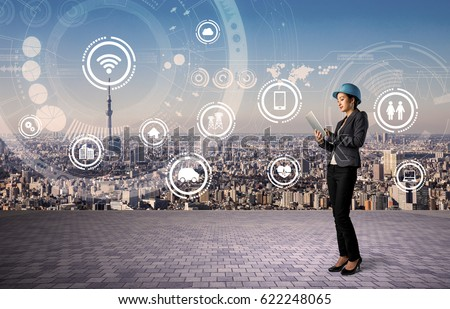 construction industry and internet technology concept. IoT(Internet of Things). Smart Factory. Industry4.0 #622248065
