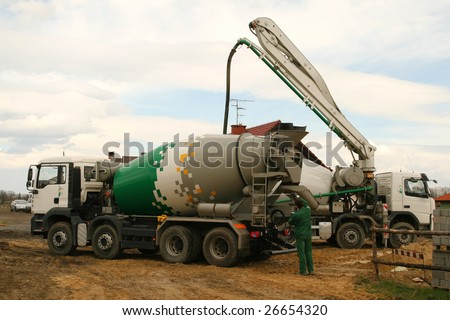 Construction industry machinery. Concrete mixer truck and a worker.