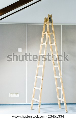 construction interior with ladder and wall