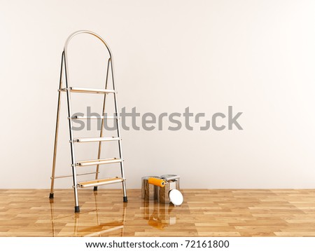 Construction ladder on a white wall. Stepladder