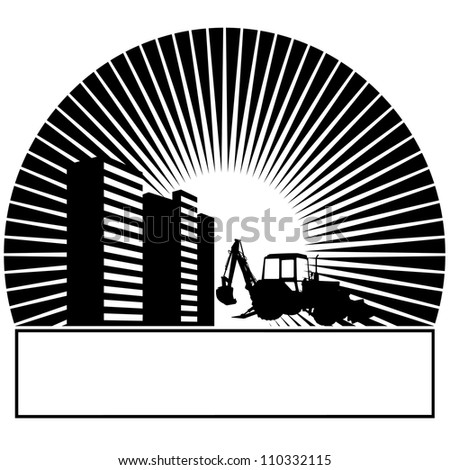 Construction machinery and buildings in the sun. Black and white illustration.
