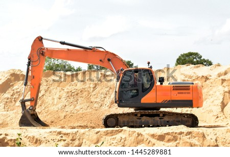 Construction machinery.excavation of land with machinery