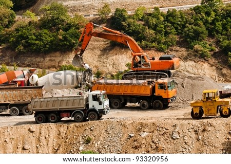 Construction machines at quarry